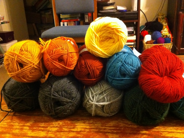 About half of the yarn I will use for the blanket.