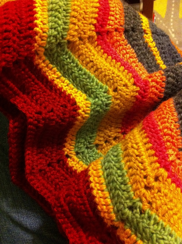 More blanket progress: see the green stripe? Right now I'm working on maroon, pale grey, and more maroon.